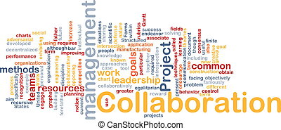colaboración, dirección, plano de fondo, concepto