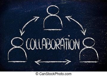 colaboración, diseño, con, grupo, de, compañeros de trabajo
