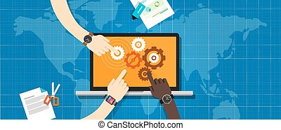colaboración, ecs, sistema, empresa