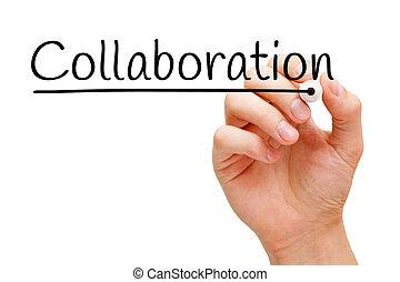 colaboración, mano, negro, marcador