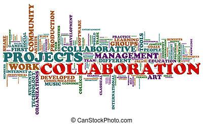 colaboración, palabra, etiquetas