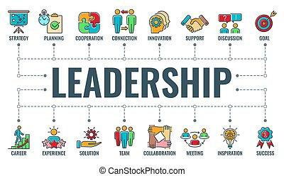 colaboración, tipografía, bandera, liderazgo