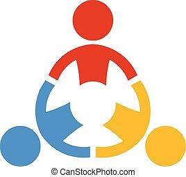 colaborar, pessoas., vetorial, trabalho equipe, logotipo