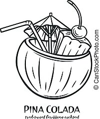 colada, トロピカル, pina, カクテル