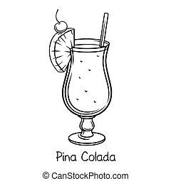 colada, pina, カクテル