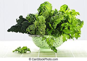 colador, oscuridad, vegetales, frondoso, verde