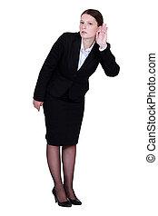 coladura, mujer de negocios, oreja, ella