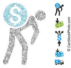 colagem, ícone, mensageiro, traço, dinheiro