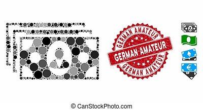 colagem, ícone, selo, amador, textured, notas, alemão