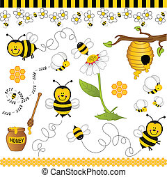 colagem, abelha, digital