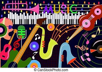 colagem, abstratos, música, fundo