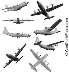 colagem, aeronave, isolado