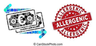 colagem, allergenic, mudança, notas, euro, selo, textured