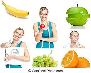 colagem, aproximadamente, estilo vida saudável