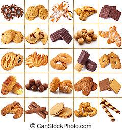 colagem, biscoitos, fundo branco