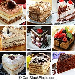 colagem, bolo, diferente, pedaços