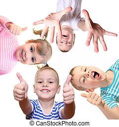 colagem, branca, ok, crianças, gesto