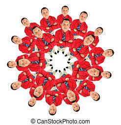 colagem, bussinessmen, círculo, camisa, vermelho