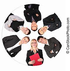 colagem, círculo, pessoas negócio