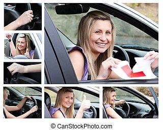 colagem, car, motorista, jovem, dela