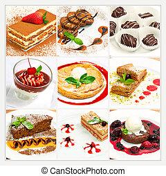 colagem, com, diferente, doce, sobremesa