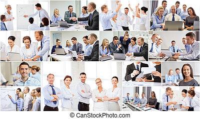colagem, com, muitos, pessoas negócio, em, escritório
