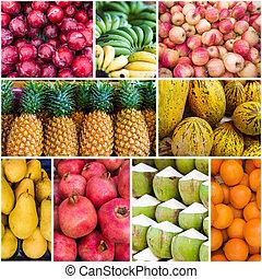 colagem, com, vário, fruits., cobrança, de, frutas frescas