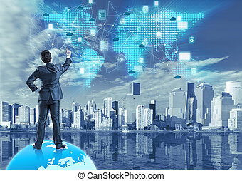 colagem, conceito, tecnologia, nuvem, computando