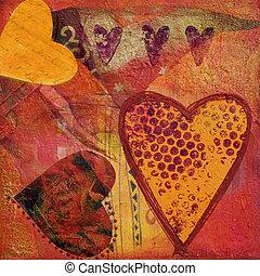 colagem, coração, artwork