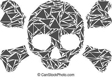 colagem, cranio, triângulos, crossbones