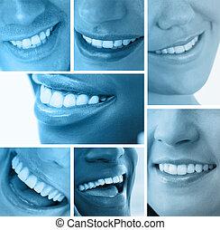 colagem, de, branca, sorrisos, em, azul, matiz