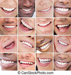 colagem, de, brilhante branco, sorrisos