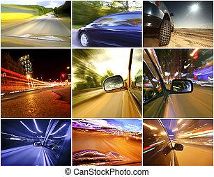 colagem, de, carros, motriz rapidamente, ligado, diferente,...