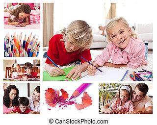 colagem, de, crianças, coloração