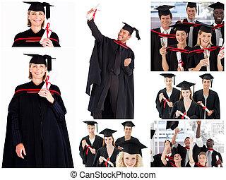 colagem, de, estudantes, graduar