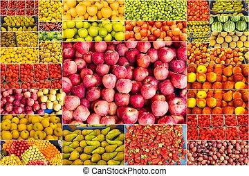 colagem, de, frutas