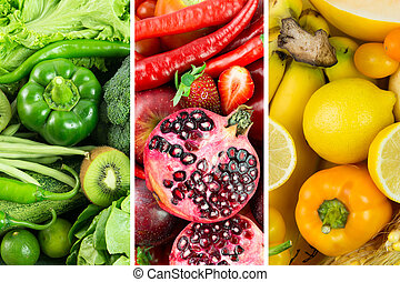 colagem, de, frutas legumes