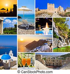 colagem, de, grécia, viagem, imagens