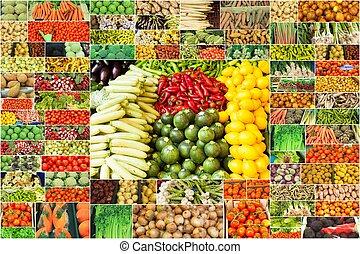 colagem, de, legumes
