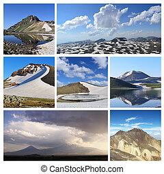 colagem, de, montanha, fotografias