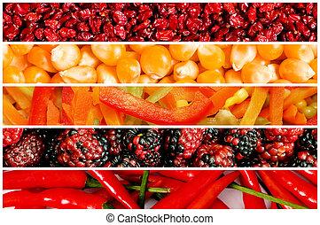 colagem, de, muitos, frutas legumes