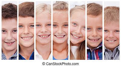 colagem, de, muitos, sorrisos