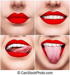 colagem, de, mulher sorridente, boca, com, dentes saudáveis