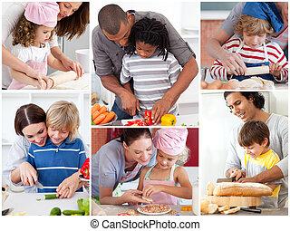 colagem, de, pais, com, seu, crianças