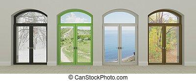 colagem, de, quatro, janelas