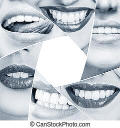 colagem, de, saudável, sorrizo, em, diafragma, forma.