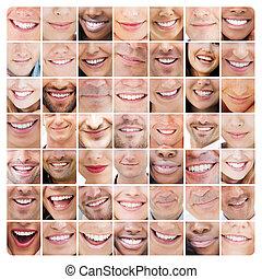 colagem, de, sorrisos