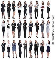 colagem, de, sucedido, modernos, businesswoman., isolado, branco