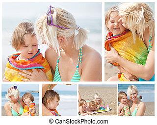 colagem, de, um, mãe, com, dela, crianças, praia