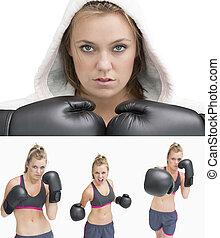 colagem, de, um, mulher, boxe